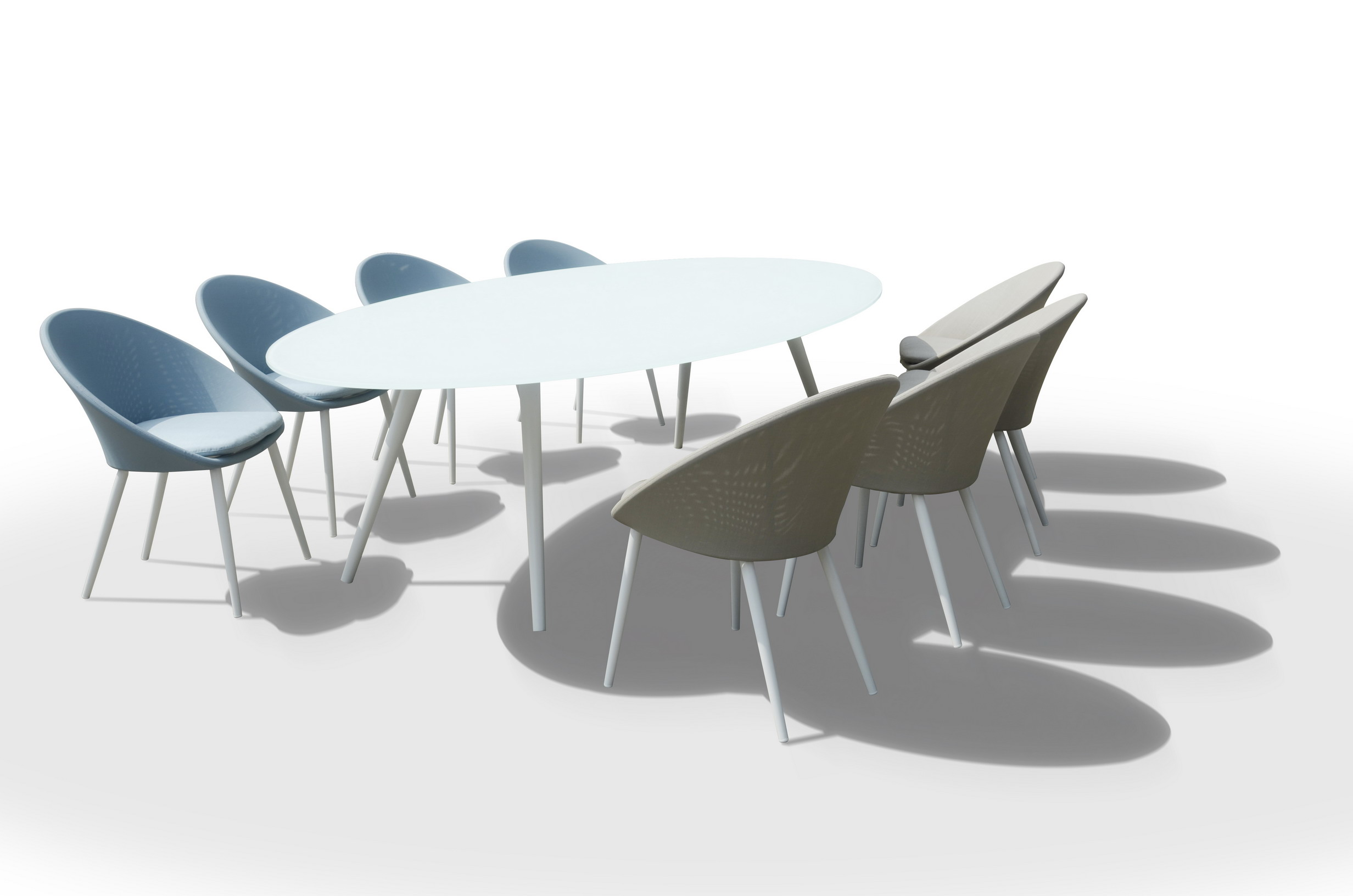 Spade Oval Dining Set With 8 Textilene Chairs